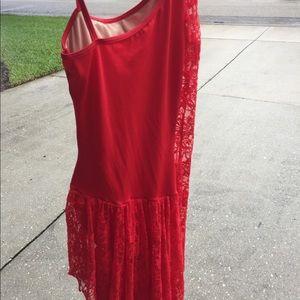 Red lace asymmetrical dress